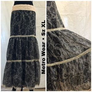 Metro Wear Crochet Lace tiered Maxi Skirt. XL